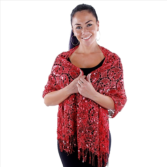 Glamourous Sequin Shawl - Red