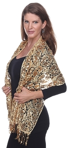 Glamourous Sequin Shawl - Gold
