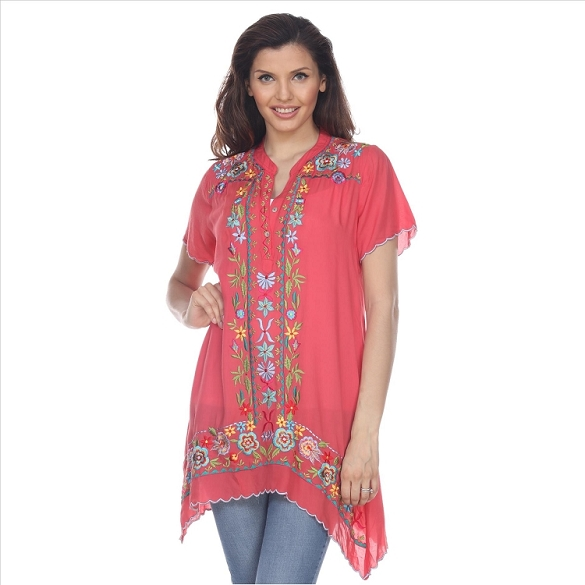 Embroidered Boho Shark Bite Tunic - Coral