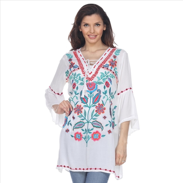 Bell Sleeved Embroidered Tunic - White