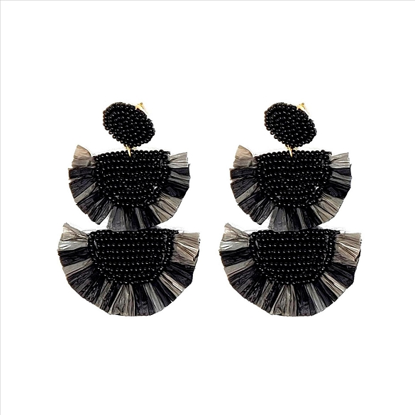 Bead and Straw Tiered Earrings - Black