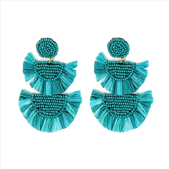 Bead and Straw Tiered Earrings - Teal