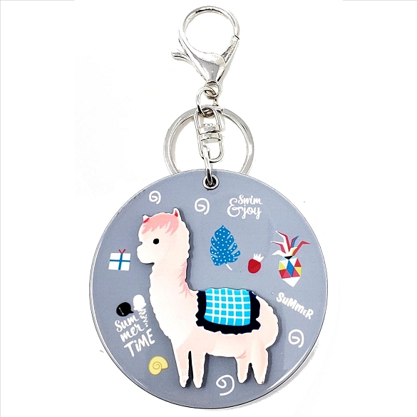 Llama in the Round Keychain / Mirror