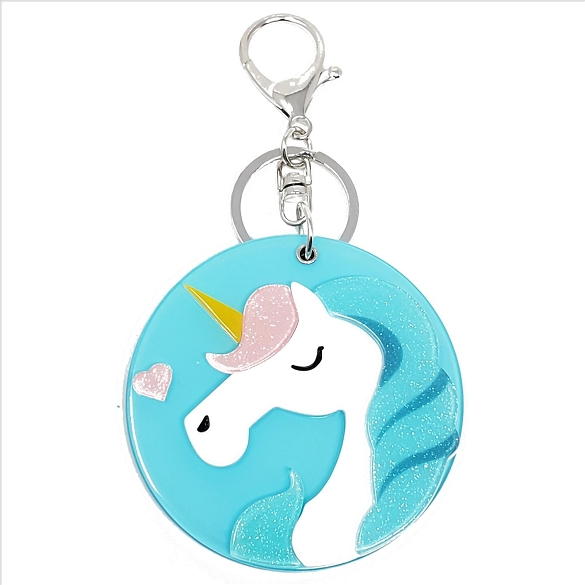 Blue Unicorn Keychain / Mirror