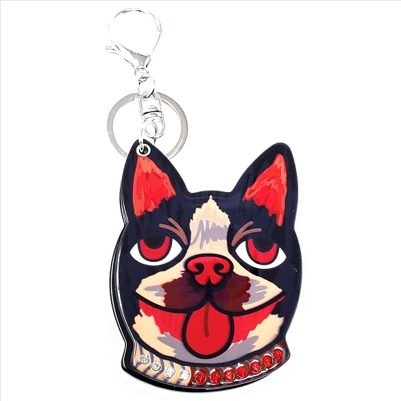 Rhinestone Collar Cat Keychain / Mirror