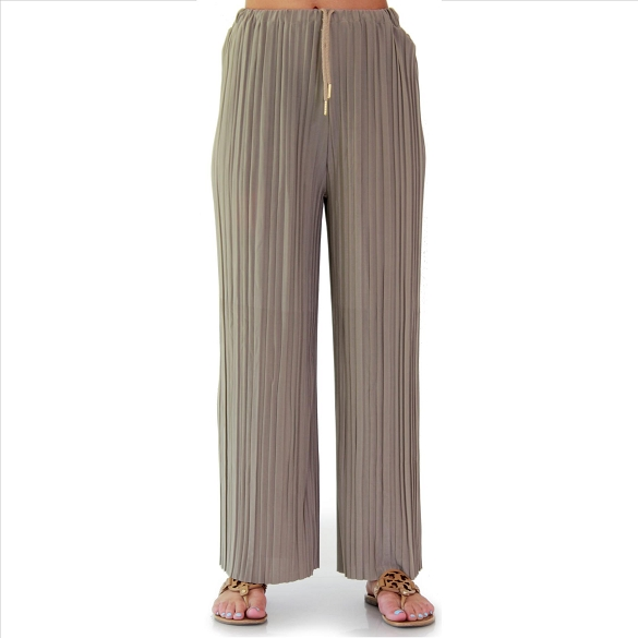 Pleated Palazzo Pants - Taupe