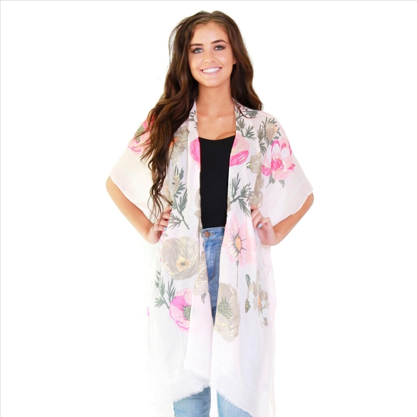 Amazing Floral Print Kimono with Gold Foil Accents - #45