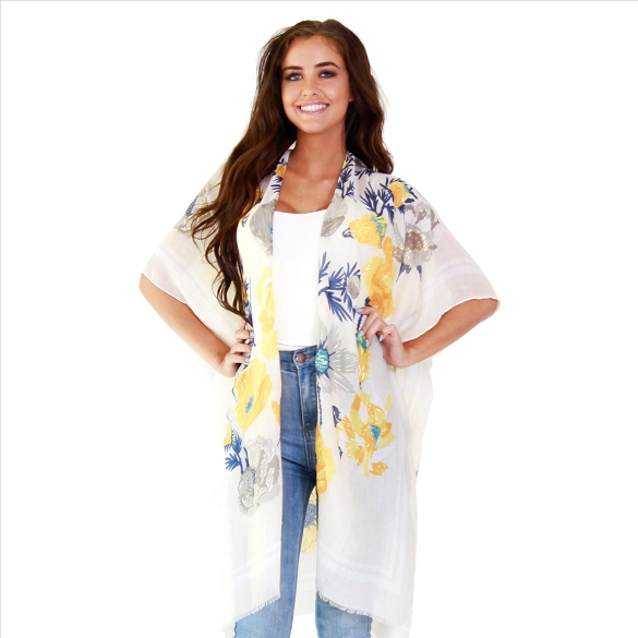 Amazing Floral Print Kimono with Gold Foil Accents - #60