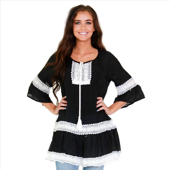 Bell Sleeve Lace Inset Tunic - Black
