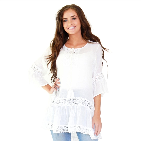 Bell Sleeve Lace Inset Tunic - White