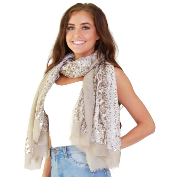 Awesome Foil Accent Snake Print Scarf