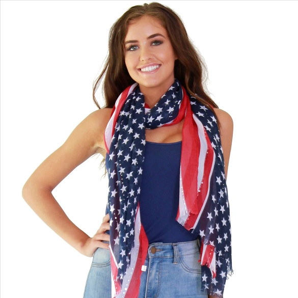 3 Pack American Flag Scarf with Sequins