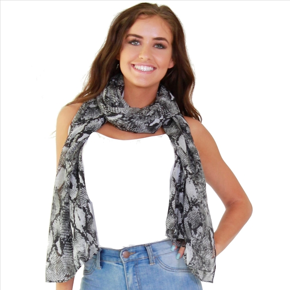 Black and White Snake Print Scarf