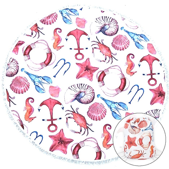 Back Pack Nautical Round Beach Towel