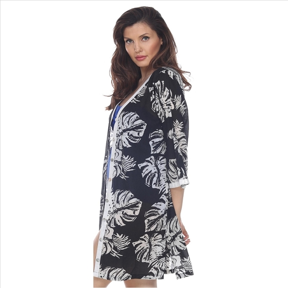 Leaf Print Button Cover-Up - Black