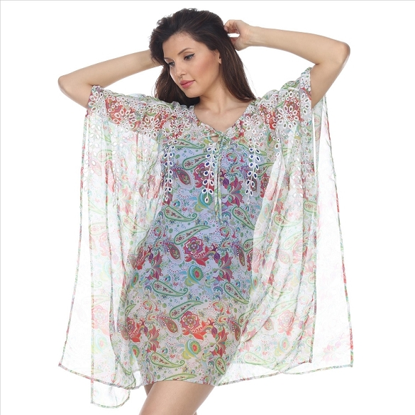 Floral Print Embroidered Cover-Up - White