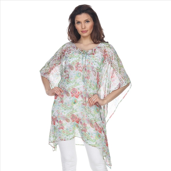 Floral Print Embroidered Caftan - White