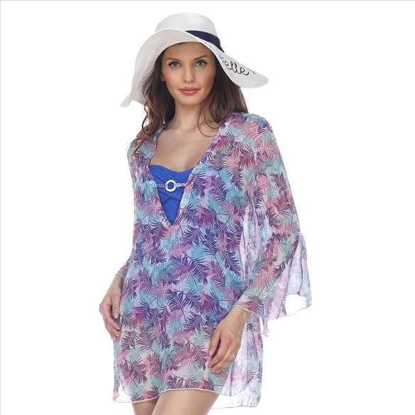Bell Sleeve Leaf Print Cover-Up - White