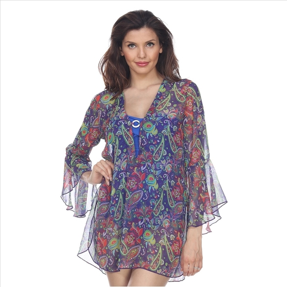Bell Sleeve Floral Print Cover-Up - Purple