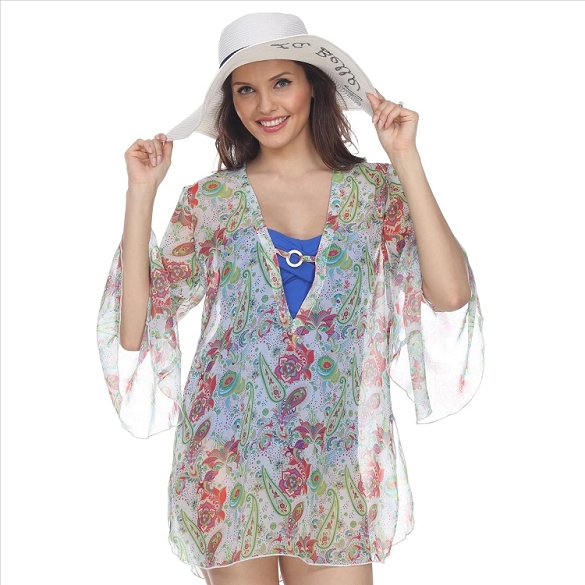 Bell Sleeve Floral Print Cover-Up - White