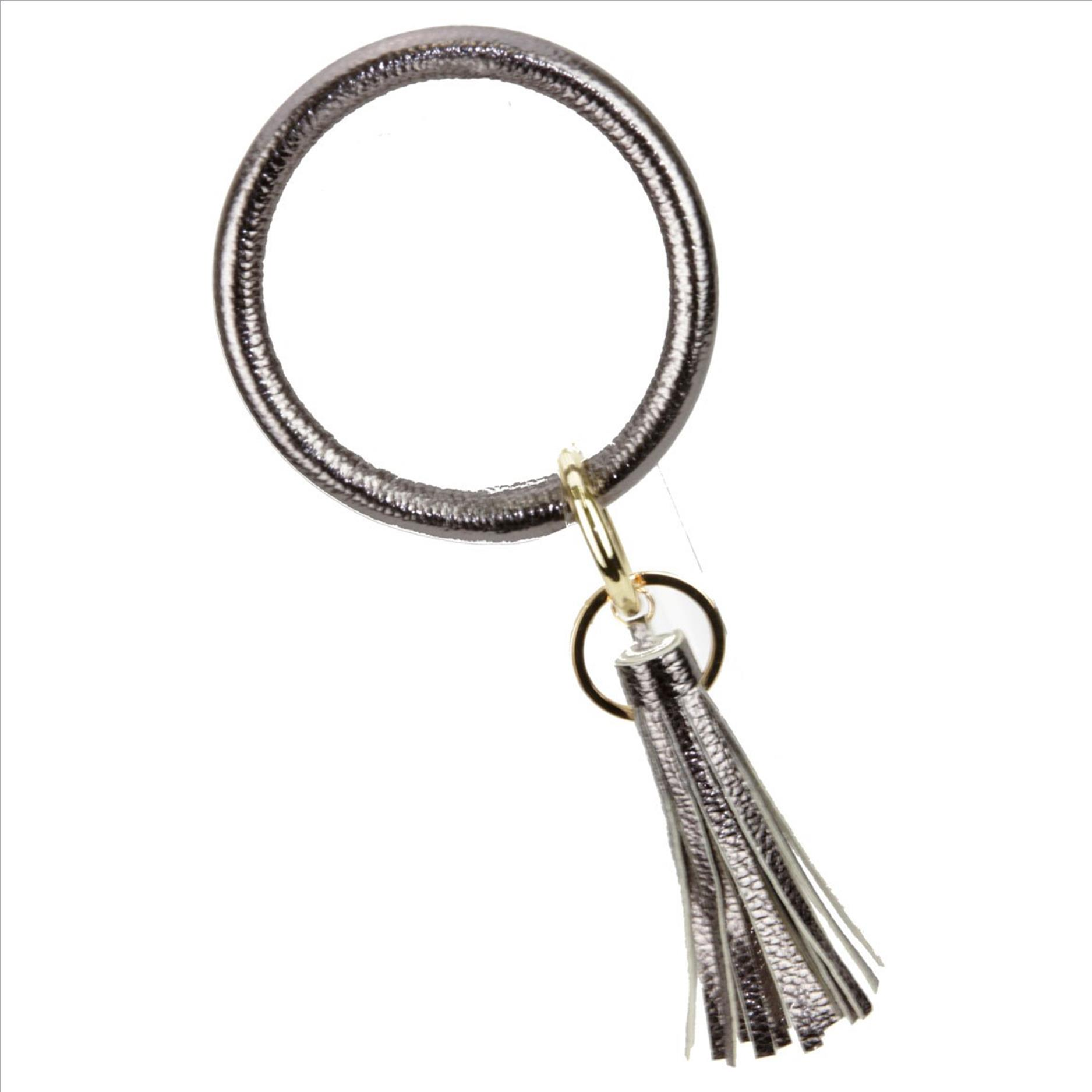 Bangle Tassel Key Chain - Hematite