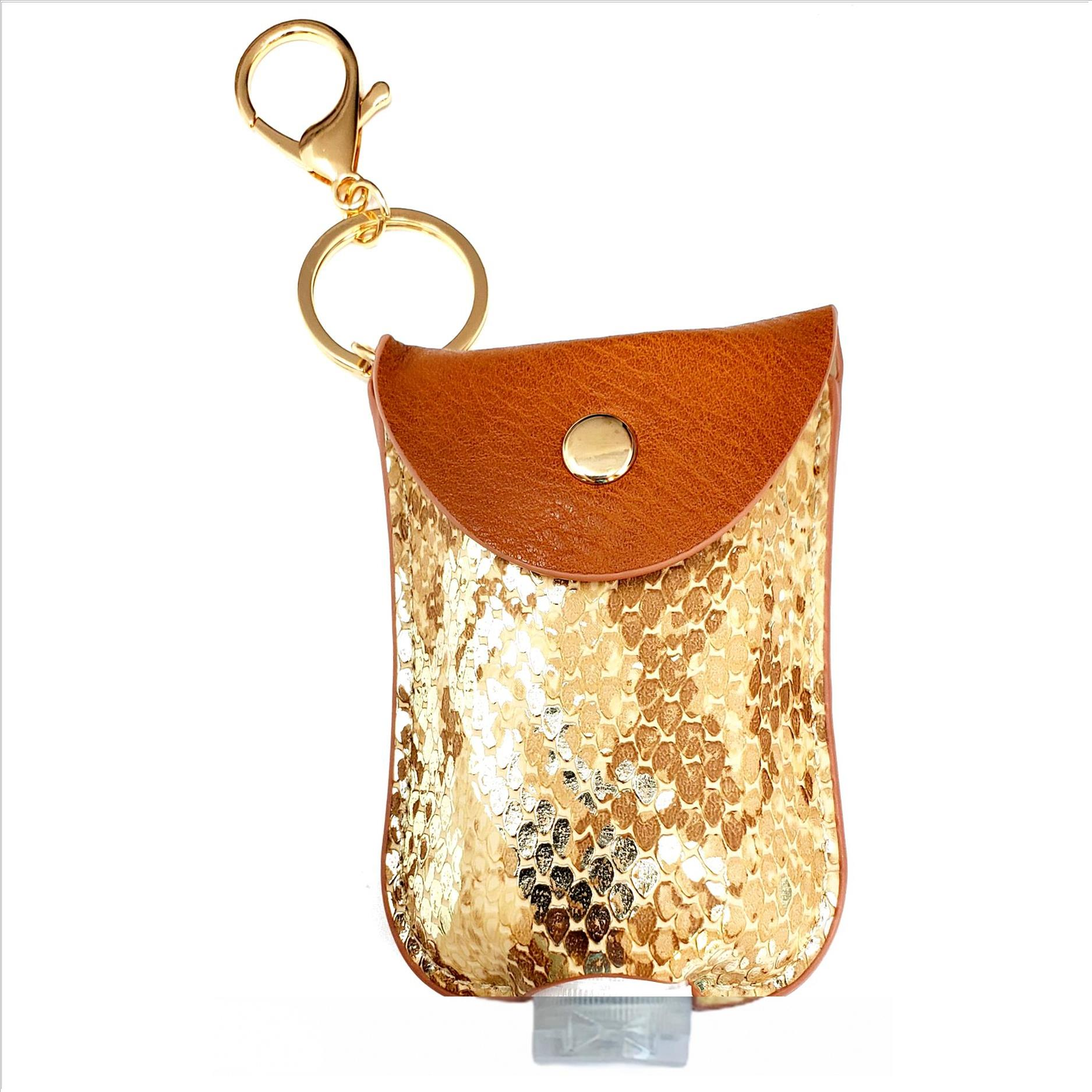 Mini Sanitizer Holder and Key Chain - Sparkling Snake Print