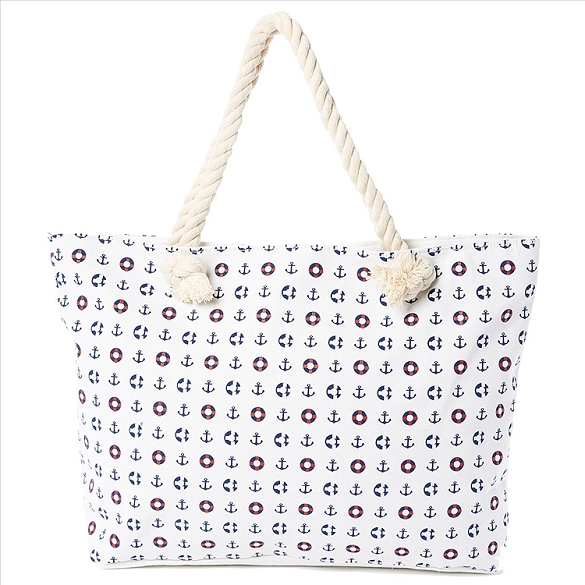 Anchors Away Beach Bag - White
