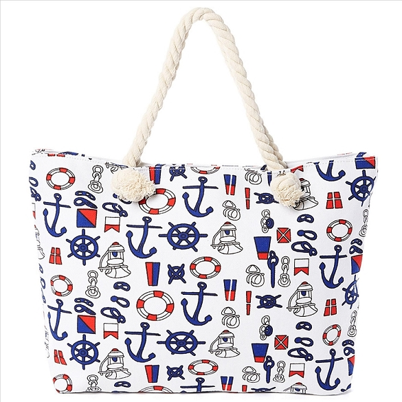 Nautical Beach Bag - White
