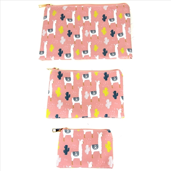 3 in 1 Cosmetic Bags - Llamas on Peach