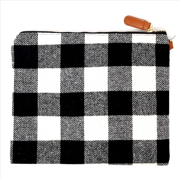 Awesome Black & White Plaid Cosmetic Bag