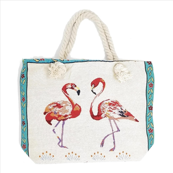 Two Flamingos Rope Handle Beach Bag
