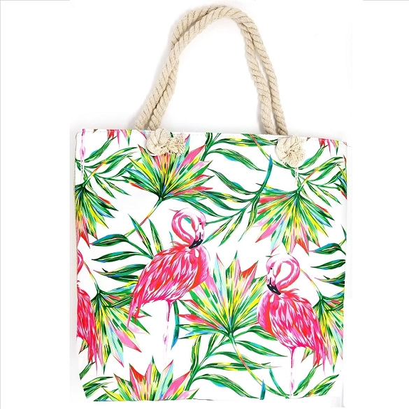Bright Flamingos Beach Bag