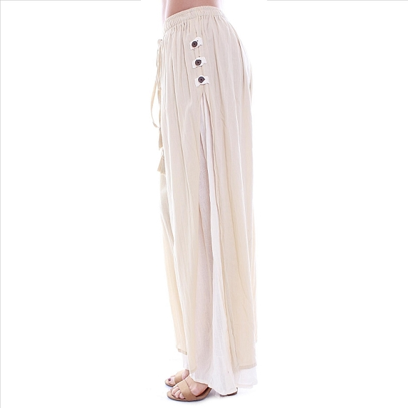 3 Button Double Layer Side Slit Pants - Cream
