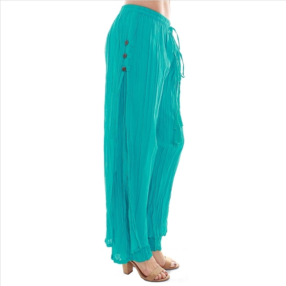 3 Button Double Layer Side Slit Pants - Teal