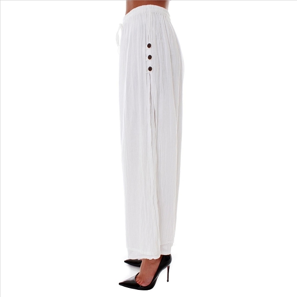 3 Button Double Layer Side Slit Pants - White