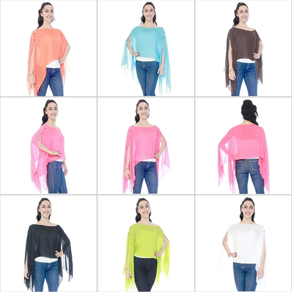 Assorted Solid 7 Way Poncho