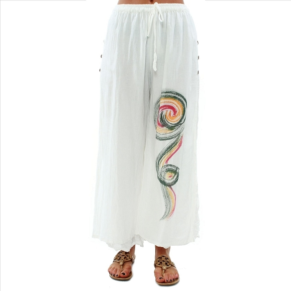 Hand Painted Layered Pants - White