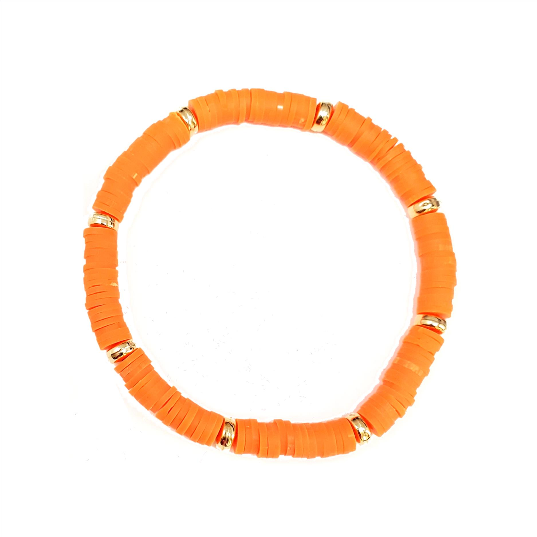 Rubber Disc and Gold Spacer Stretch Bracelet - Orange