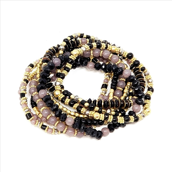 Awesome 10 Strand Stretch Bracelets - Black