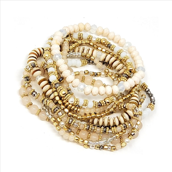 Awesome 10 Strand Stretch Bracelets - Ivory