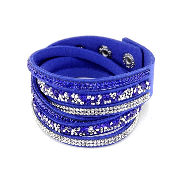 Rhinestone Wrap & Snap Bracelet - Royal