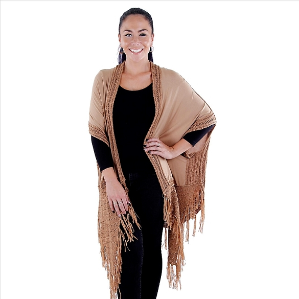 Crochet Accent Solid Duster - Brown