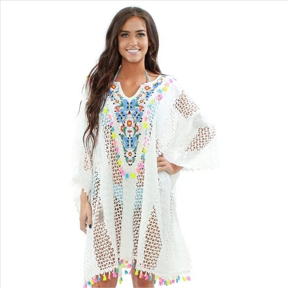 Embroidered Lace Cover-Up with Neon Tassels - White