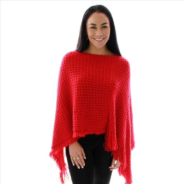 Cashmere Feel Poncho - Red