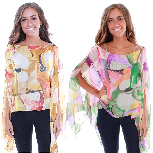 Abstract Print 7 Way Poncho - Assorted
