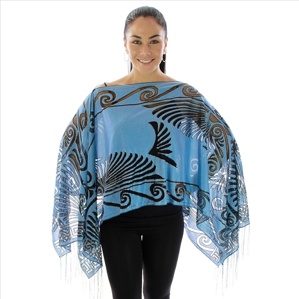 Burnout Abstract 7 Way Poncho - Blue