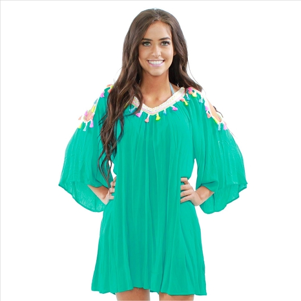 Amazing Neon Tassel Cover Up - Teal