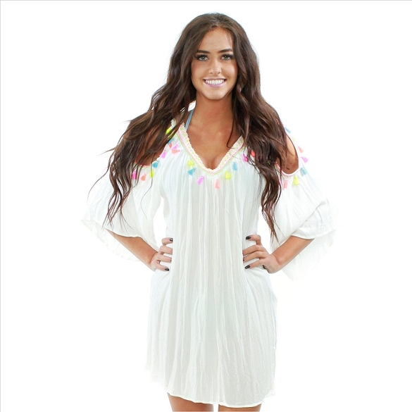 Amazing Neon Tassel Cover Up - White