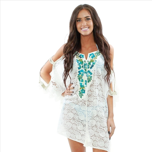 Beautiful Sequins and Lace Cover-Up - White