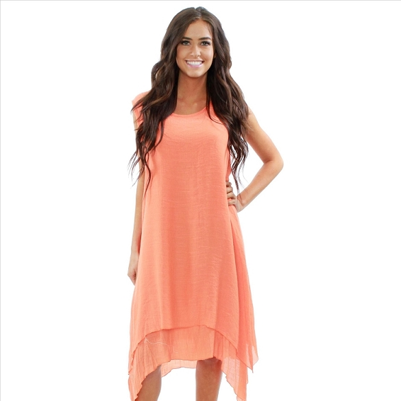 Layered Hem High-Low Sleeveless Dress - Orange